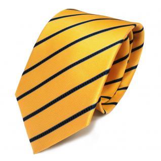 TigerTie Seidenkrawatte gelb blau dunkelblau gestreift - Krawatte 100 % Seide