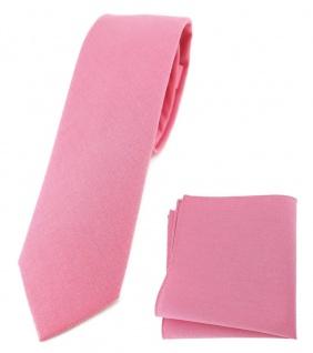 TigerTie - schmale Krawatte + Einstecktuch aus 100% Baumwolle rosa pink unicolor