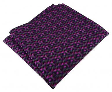 TigerTie Designer Seideneinstecktuch in lila violett anthrazit schwarz gemustert