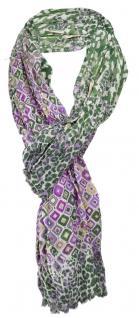 TigerTie Schal in grün flieder lila grau beige gemustert mit kl. Fransen