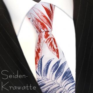 MEXX Krawatte Blau Orange mit Blättermotiv, Seide