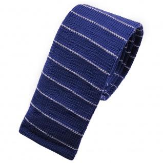 Schmale Strickkrawatte blau saphirblau weiß gestreift - Krawatte Polyester Tie