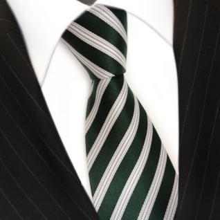 TigerTie Seidenkrawatte grün dunkelgrün weiss silber gestreift - Krawatte Seide - Vorschau 3