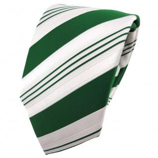 TigerTie Satin Krawatte grün dunkelgrün weiß silber gestreift - Binder Schlips