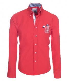 Pontto Designer Hemd Shirt in rot knallrot einfarbig langarm Modern-Fit Gr. M