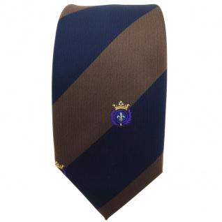 Schmale TigerTie Krawatte braun dunkelbraun dunkelblau gestreift Wappen - Binder - Vorschau 2