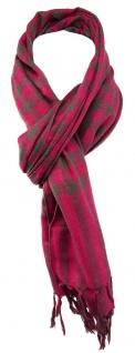 TigerTie Designer Schal in pink grau kariert mit Fransen - Gr. 180 x 50 cm