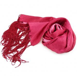 Damen Schal rot rosé erdbeerrot mit Fransen und Paisley Motiven - Tuch Halstuch
