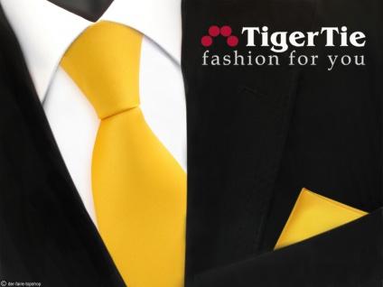 schöne TigerTie Satin Krawatte + Einstecktuch in gelb maisgelb Uni - Tie Binder