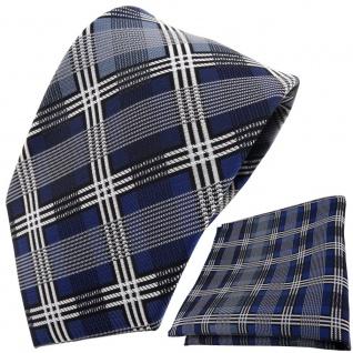 TigerTie Krawatte + Einstecktuch blau silber grau schwarz kariert