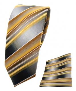 schmale TigerTie Seidenkrawatte + Einstecktuch gold gelb grau silber gestreift