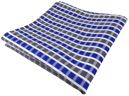 TigerTie Einstecktuch in blau grau silber weiss gestreift