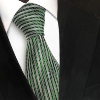 TigerTie Designer Seidenkrawatte grün silber grau längs gestreift - Krawatte