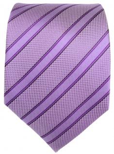 TigerTie Seidenkrawatte in lila flieder schwarz gestreift - Krawatte 100% Seide - Vorschau 2