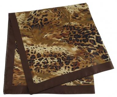 TigerTie Damen Nickituch Halstuch in braun dunkelbraun schwarz Leopardenmuster