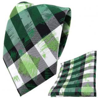 TigerTie Designer Krawatte + Einstecktuch grün grau silber schwarz gestreift