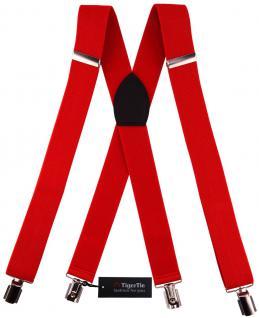 breiter TigerTie Herren Hosenträger mit 4 Clips in X-Form - Farbe rot