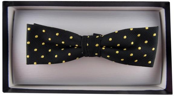 schmale TigerTie Fliege schwarz gold gepunktet + Box, 33 bis 50 cm verstellbar - Vorschau 2