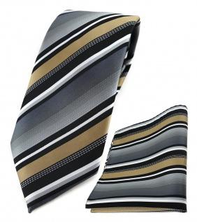 TigerTie Krawatte + Einstecktuch in gold silber grau weiss schwarz gestreift