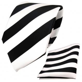 Designer TigerTie Krawatte + Einstecktuch schwarz weiss gestreift