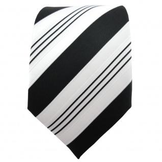 TigerTie Satin Krawatte schwarz anthrazit weiß silber gestreift - Binder Schlips - Vorschau 2