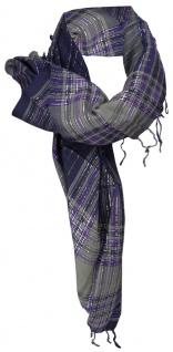 Halstuch lila grau silber m. Fransen - Glitzerfäden eingearbeitet - 100 x 100 cm