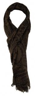 TigerTie Schal in braun dunkelbraun gemustert - 190 x 50 cm - 100% Wolle