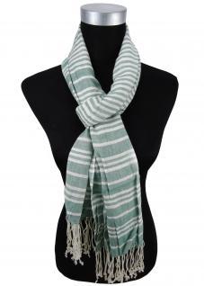 Schal in grün weiß creme gestreift mit Fransen - Gr. 180 x 50 cm