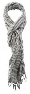 TigerTie Schal in grau weiß gestreift mit Fransen - Gr. 180 x 35 cm - Halstuch