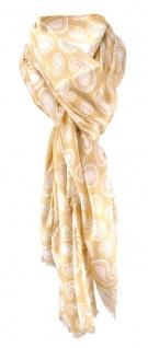 edler Schal in beige weissgrau Paisley gemustert - Schalgröße 180 x 100 cm