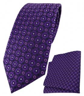 XXL TigerTie Krawatte + Einstecktuch dunkelviolett rosa silber schwarz gemustert