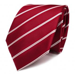 TigerTie Designer Seidenkrawatte rot signalrot weiss silber gestreift - Krawatte