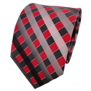 TigerTie Seidenkrawatte rot grau silber anthrazit kariert - Krawatte Seide Silk
