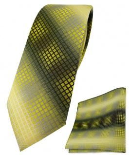 schmale TigerTie Krawatte + Einstecktuch gelb gold silber grau schwarz kariert