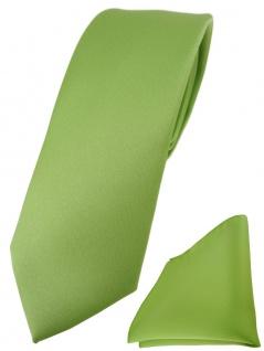 schmale TigerTie Designer Krawatte + Einstecktuch in hellgrün einfarbig uni