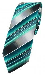 schmale TigerTie Designer Krawatte grün dunkelgrün silber anthrazit gestreift