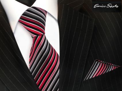 Enrico Sarto Seidenkrawatte & Einstecktuch rot anthrazit grau silber gestreift