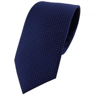 TigerTie Seidenkrawatte dunkelblau marine silber gepunktet - Krawatte 100% Seide