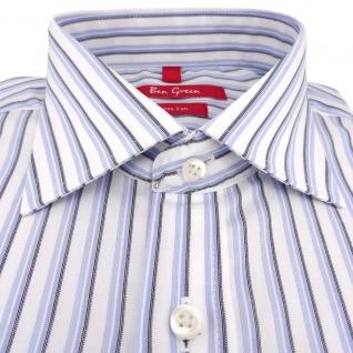 Ben Green Herrenhemd blau weiß bügelfrei langarm - New-Kent-Kragen Hemd Gr.44 - Vorschau 2