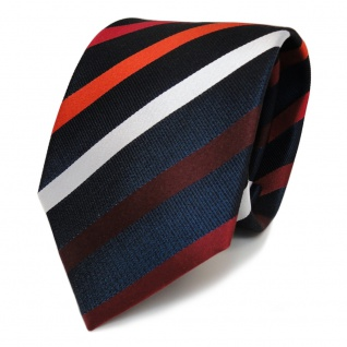 Designer Seidenkrawatte rot weinrot orangerot blau silber gestreift - Krawatte
