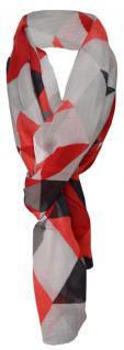 Schal in rot weinrot schwarz grau anthrazit gemustert - 100% Modal - 180 x 70 cm
