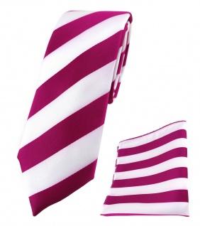 schmale TigerTie Krawatte + TigerTie Einstecktuch in magenta weiss gestreift