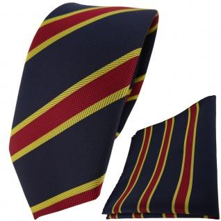 schmale TigerTie Krawatte + Einstecktuch schwarzblau rot gold gestreift