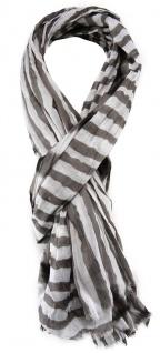 TigerTie Schal in braun weiß gestreift - Gr. 180 x 100 cm - 100% Baumwolle