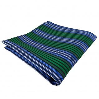 TigerTie Einstecktuch grün blau schwarz silber gestreift - Tuch Polyester