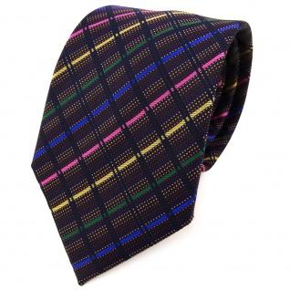 TigerTie Designer Krawatte in gold rosa blau grün schwarz gestreift - Binder