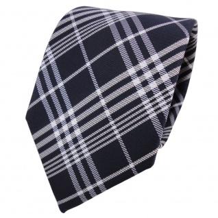 TigerTie Krawatte blau schwarzblau silber weiß kariert - Schlips Binder Tie