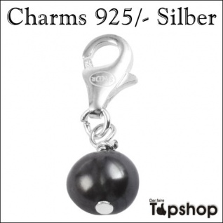 Charms 925/-, Echt Silber, Perle, schwarz Ø 0, 5cm