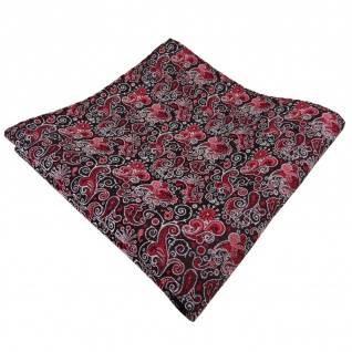 TigerTie Einstecktuch rot bordeaux rosa schwarz silber paisley - Tuch Polyester