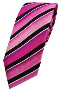 schmale TigerTie Seidenkrawatte in magenta rosa pink schwarz silber gestreift